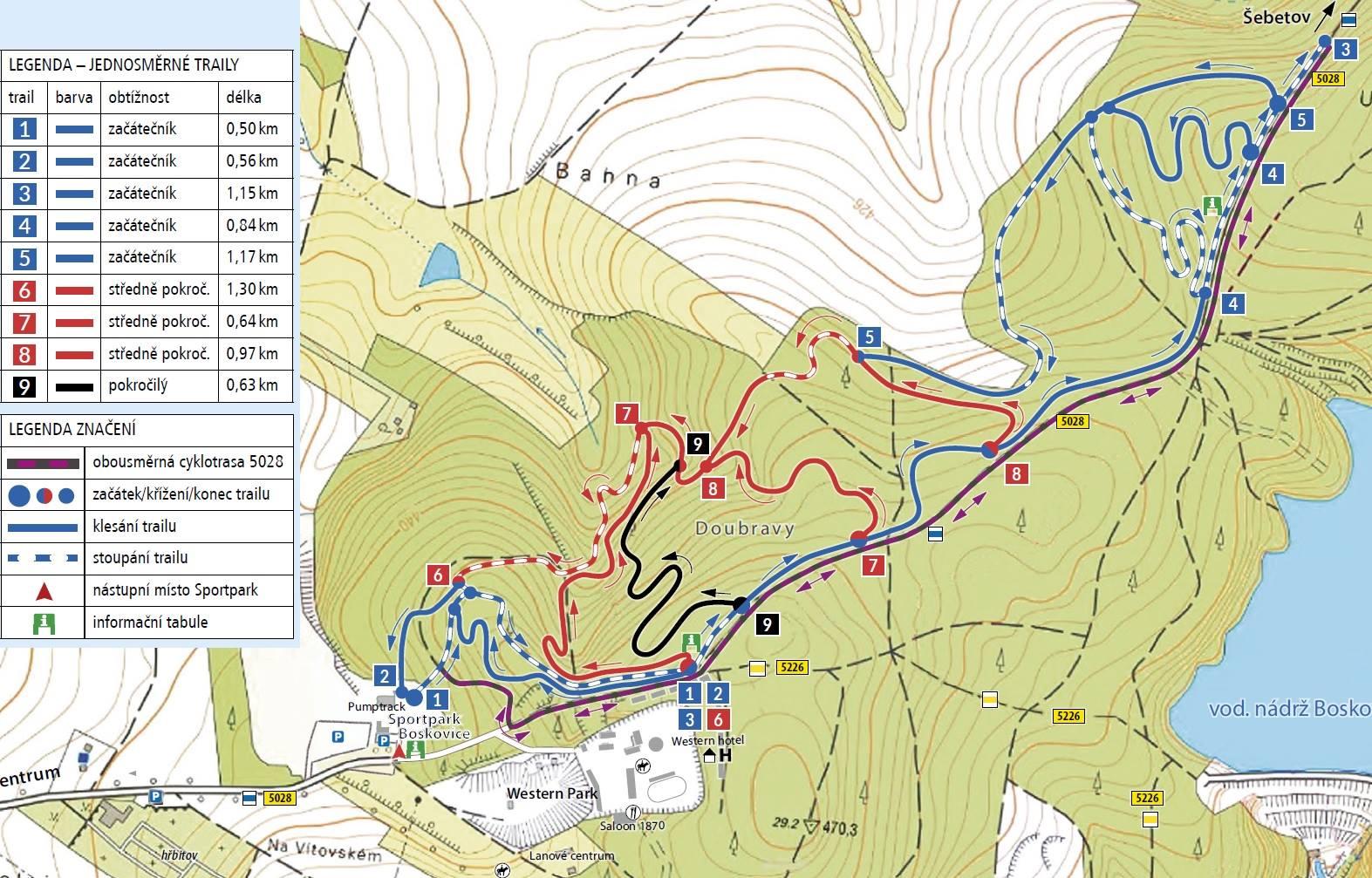 Boskovické stezky - mapa
