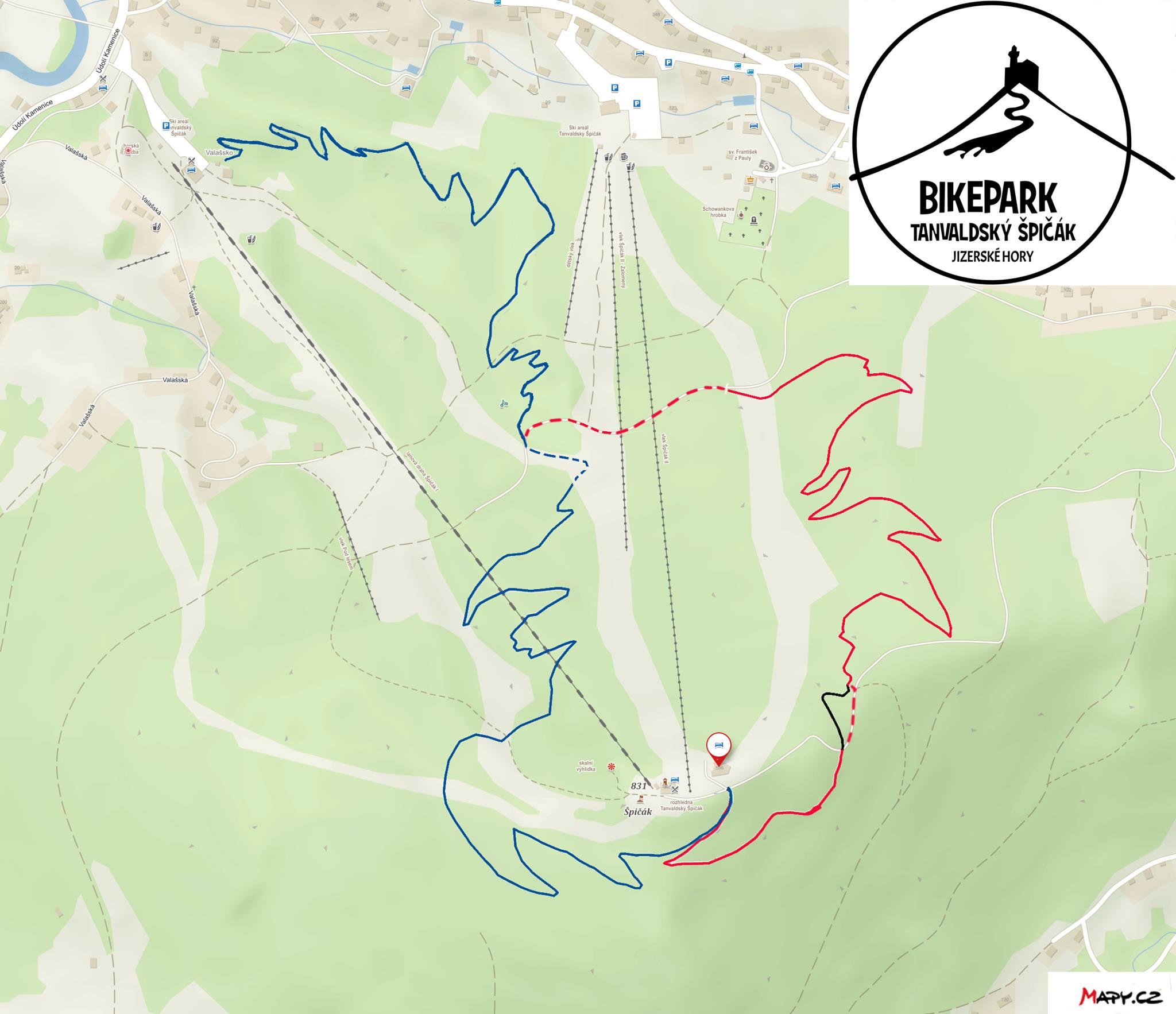 Bikepark Tanvaldský Špičák - mapa singletrailů