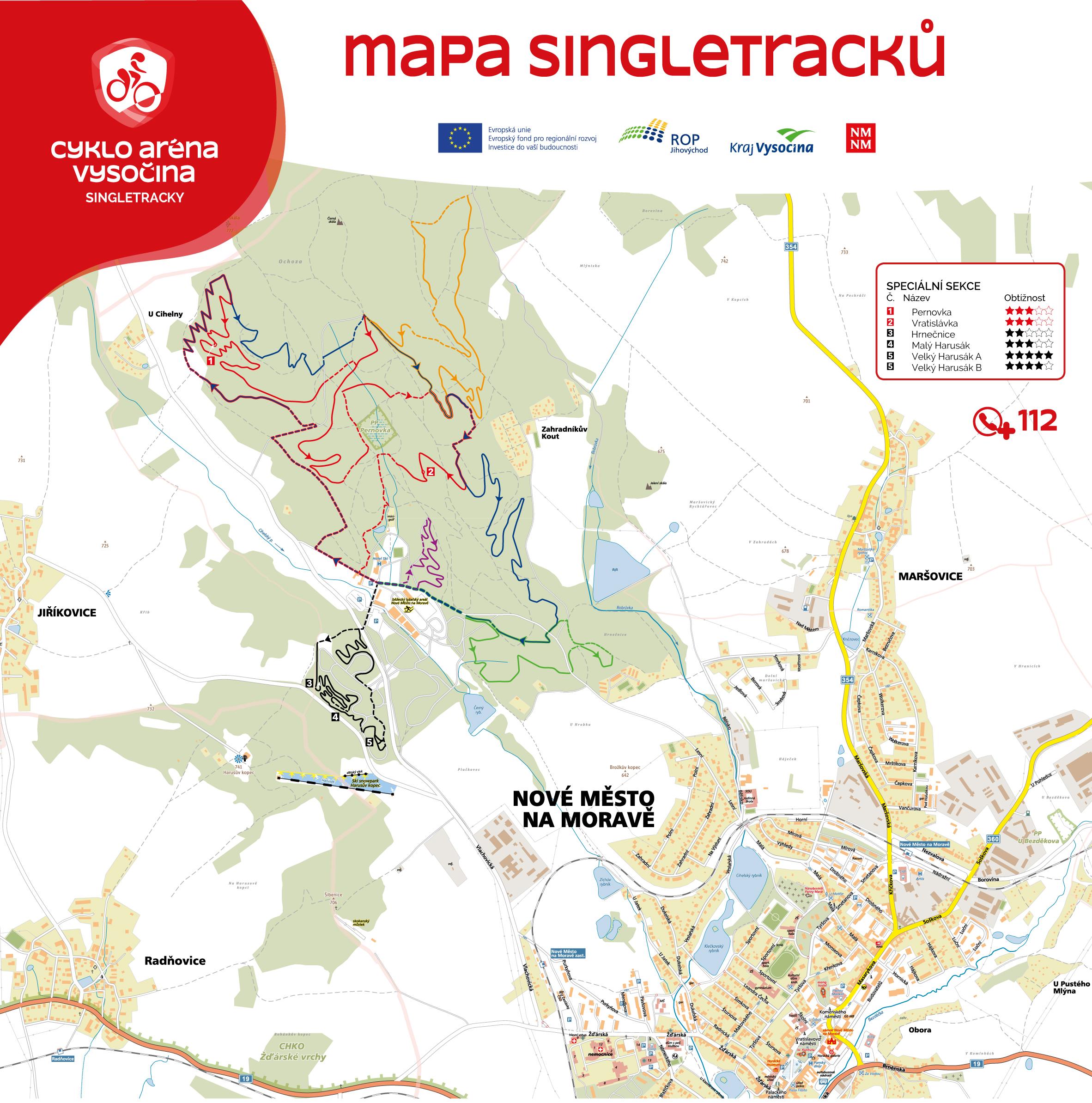 Cyklo aréna Vysočina - mapa