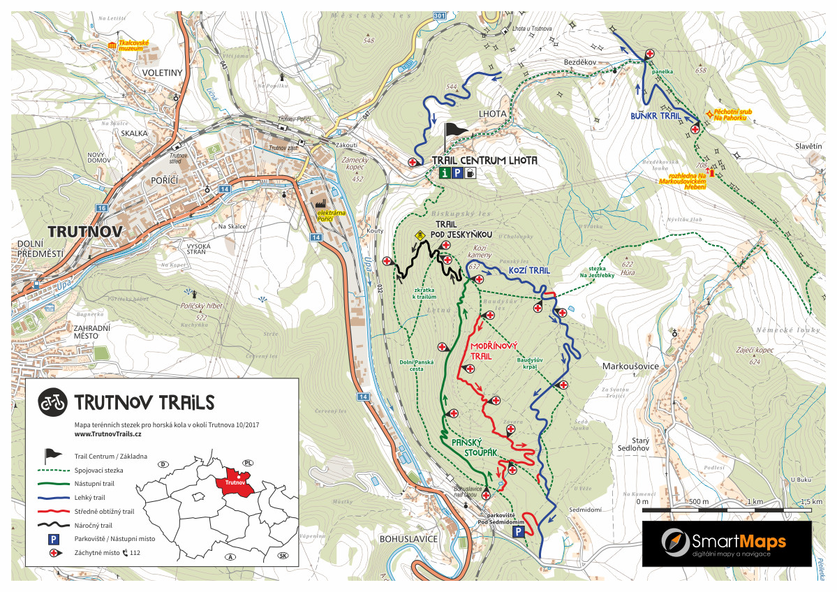 Trutnov Trails mapa