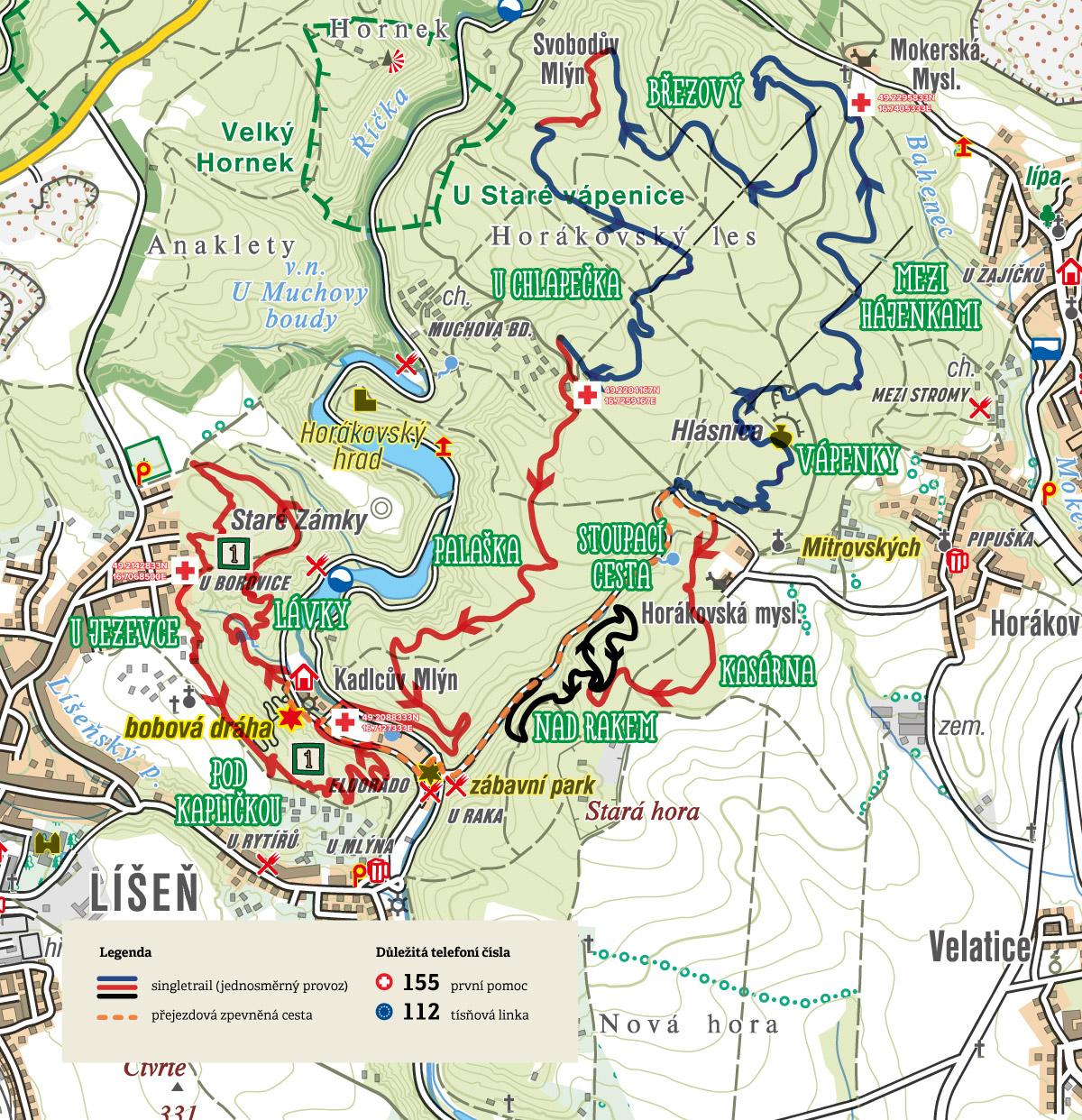 Traily Marianske udoli mapa