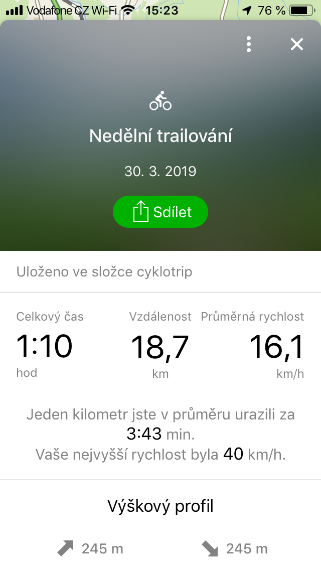 Aplikace pro záznam trasy 3