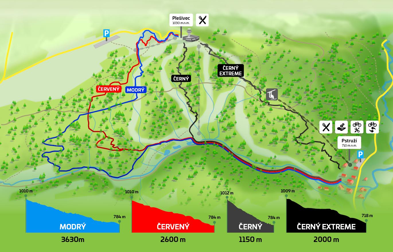 Trailpark Plešivec - mapa